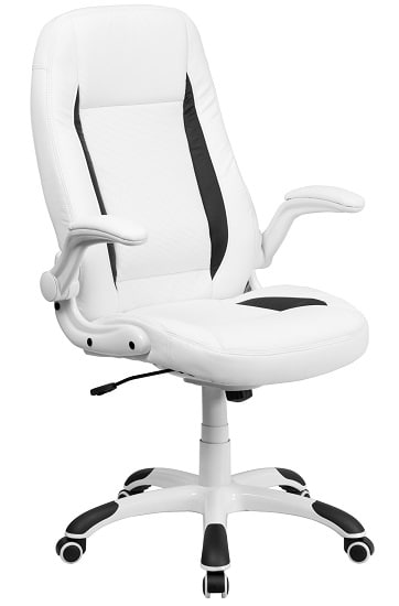 Flash Furniture High Back White Leather Executive Swivel Office Chair with Flip-Up Arms